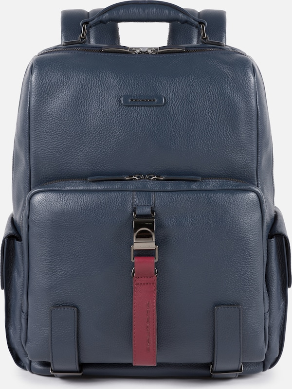 Piquadro Rucksack in navy / rot: Frontalansicht