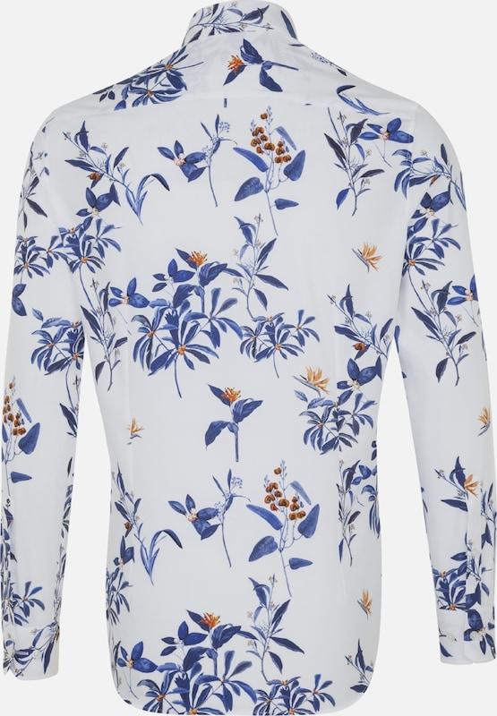 Seidensticker In 'slim' Overhemd DonkerblauwBruin Wit oeCrdxBW