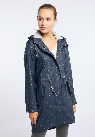 MYMO Between-seasons coat in Blue / Gold, View model