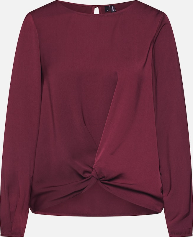 VERO MODA Bluse 'VMSTANLY KNOT L/S TOP NOOS' in weinrot: Frontalansicht