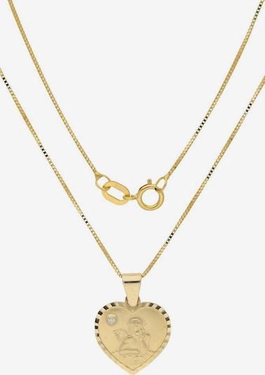 FIRETTI Kette mit Anhänger »Herz mit Schutzengel« in gold, Produktansicht