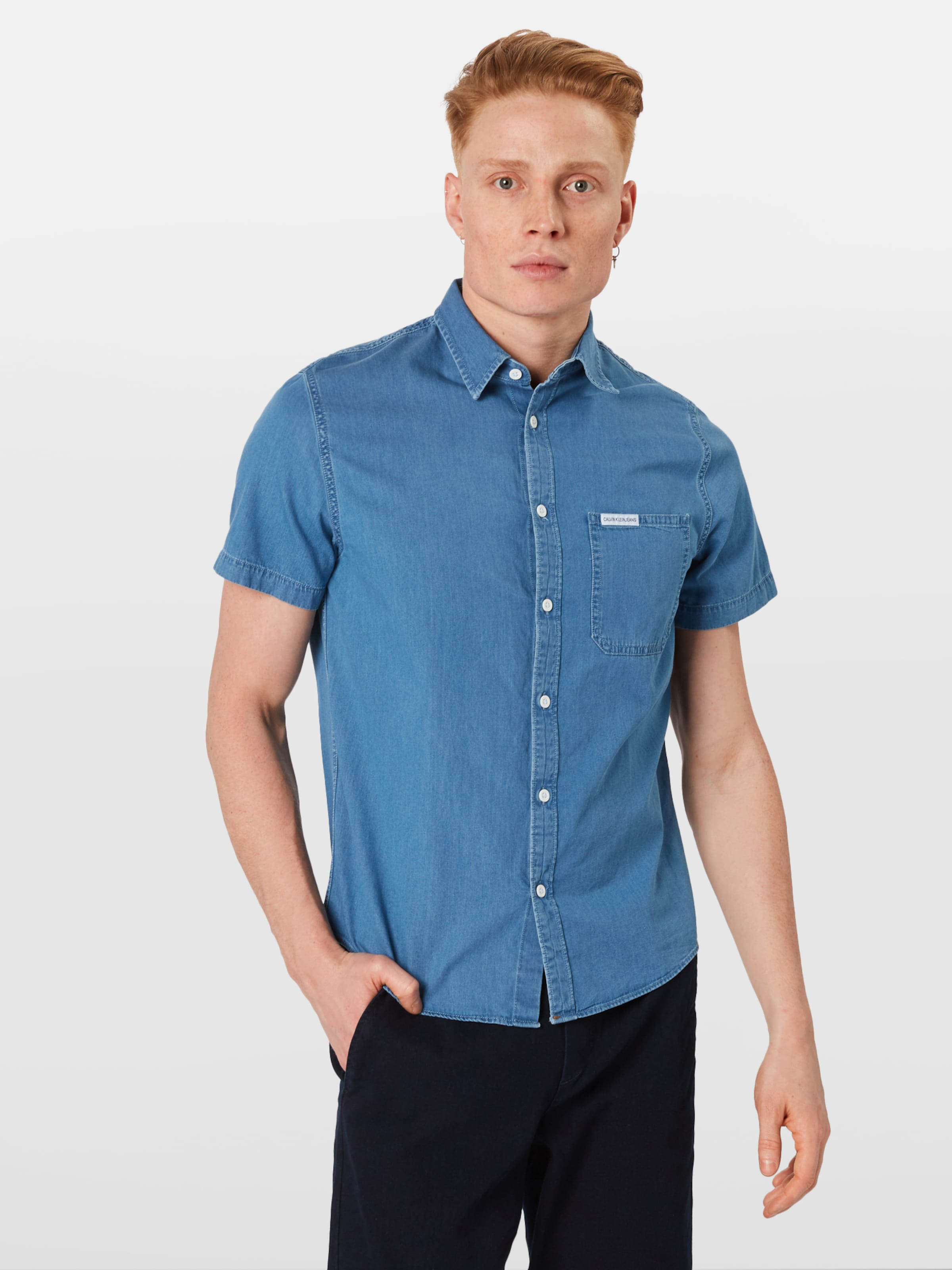 Jeans Reg In Pocket Calvin Instit Indigo 'indigo Ss' Klein Hemd KJcTul1F3
