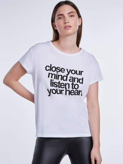 Tricou SET pe negru / alb: Privire frontală