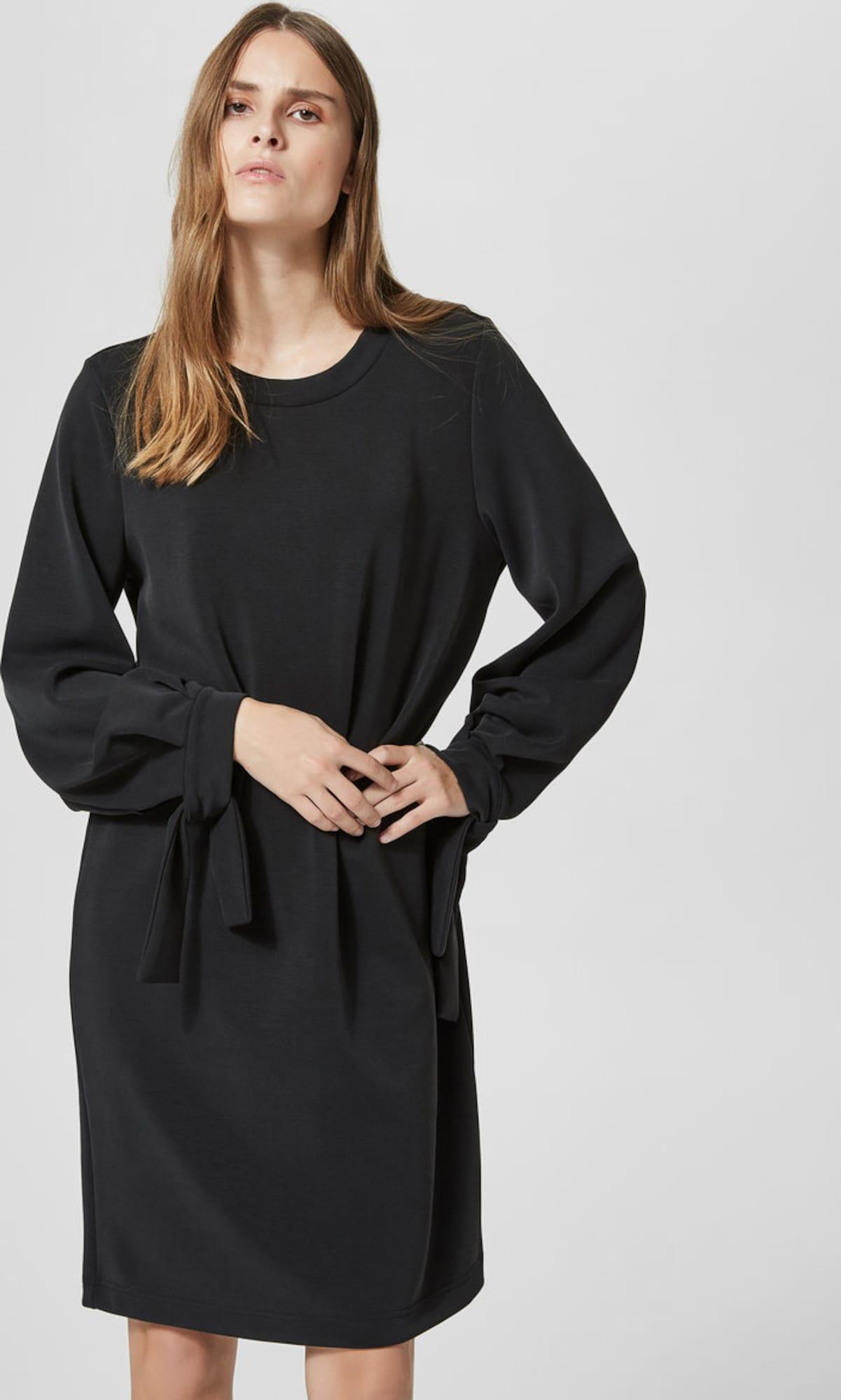 selected femme kleid mit langen rmeln modalmix in schwarz. Black Bedroom Furniture Sets. Home Design Ideas