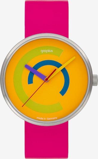 WALTER GROPIUS Uhr in blau / gelb / hellgrün / neonpink / silber, Produktansicht