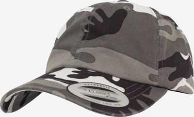 Flexfit Cap in grau / greige / schwarz: Frontalansicht