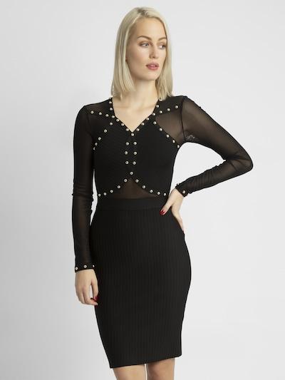 APART Jerseykleid mit goldfarbenen Nieten verziert in schwarz, Modelansicht