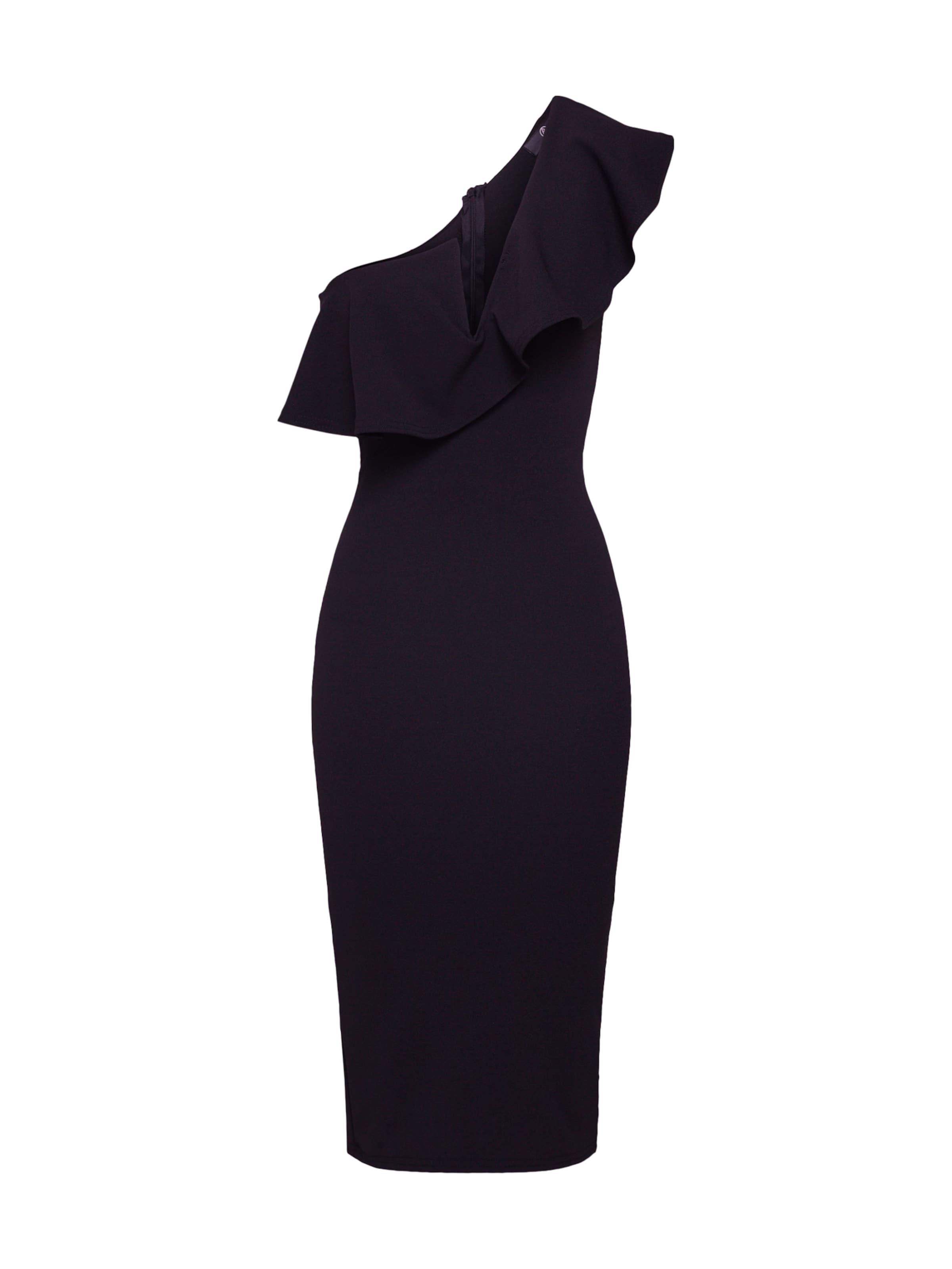 'one Shoulder Dress' Schwarz Frill In Kleid Midi Missguided kOPNZn0X8w