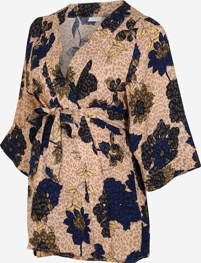MAMALICIOUS Bluse 'MLYASMINA 3/4 WOVEN KIMONO TOP' in beige / blau / braun / gelb / grau: Frontalansicht