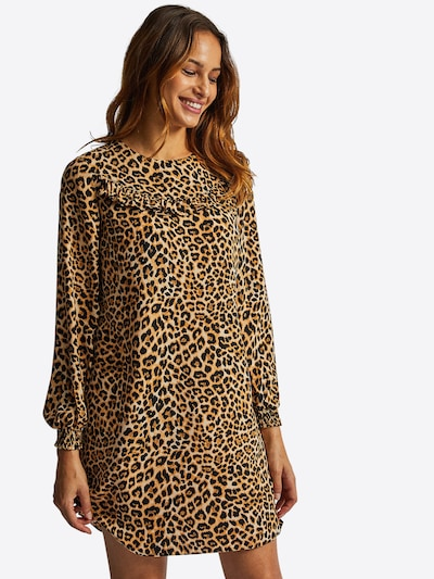 Dorothy Perkins Obleka 'ANIMAL RUFFLE LONG SLEEVE SHIFT DRESS' | bež barva: Frontalni pogled
