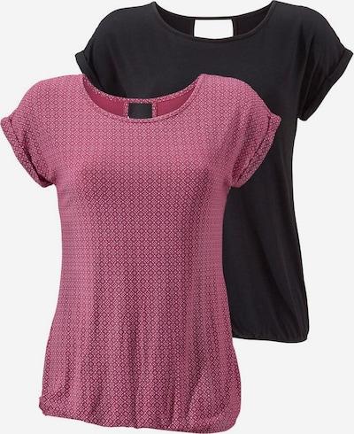 LASCANA T-Shirts in beere / schwarz, Produktansicht