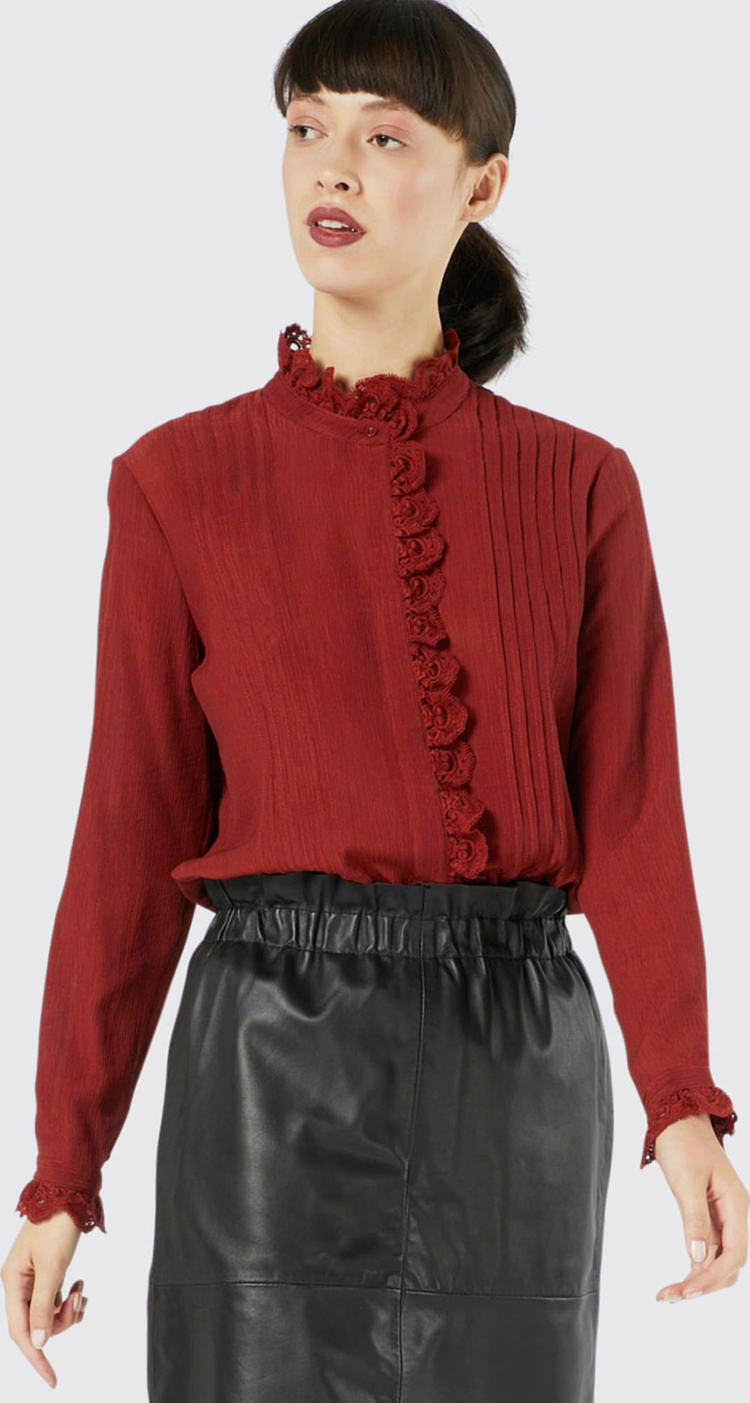 Blouse Designs Stand Collar : Ivy oak blouse stand up lace collar in rood about you