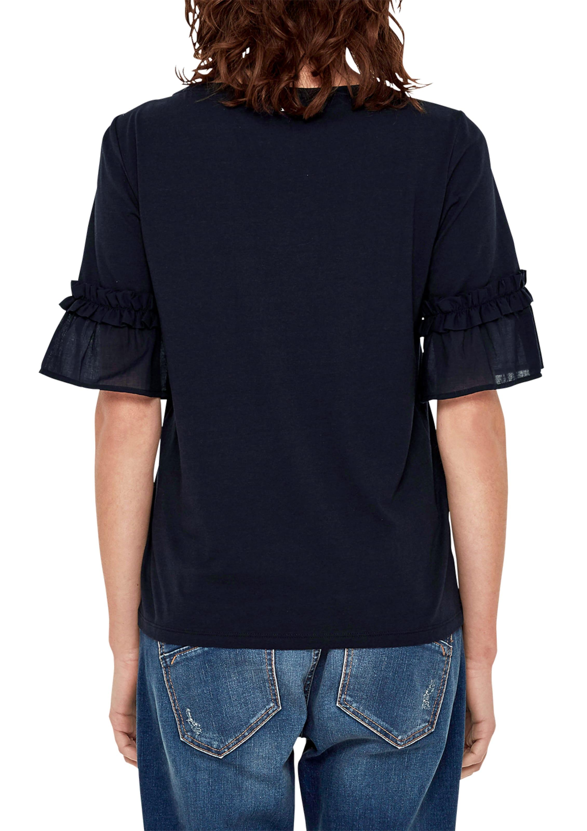 s.Oliver RED LABEL Crew Neck-Shirt mit Rüschenbesatz Spielraum Mit Mastercard BlCqW