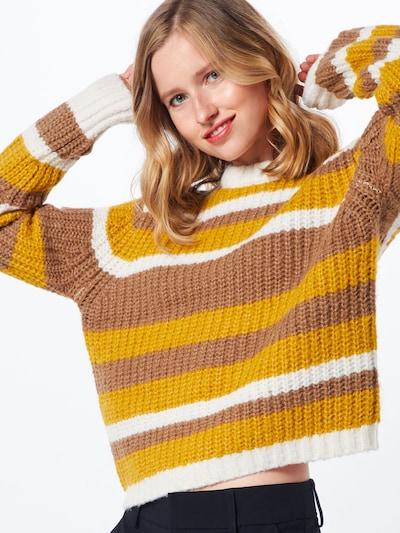 PIECES Džemperis 'HUE' pieejami brūns / dzeltens / balts: Priekšējais skats