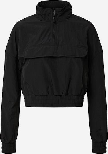 Urban Classics Jacke 'Ladies Cropped Crinkle Nylon Pull Over Jacket' in schwarz: Frontalansicht