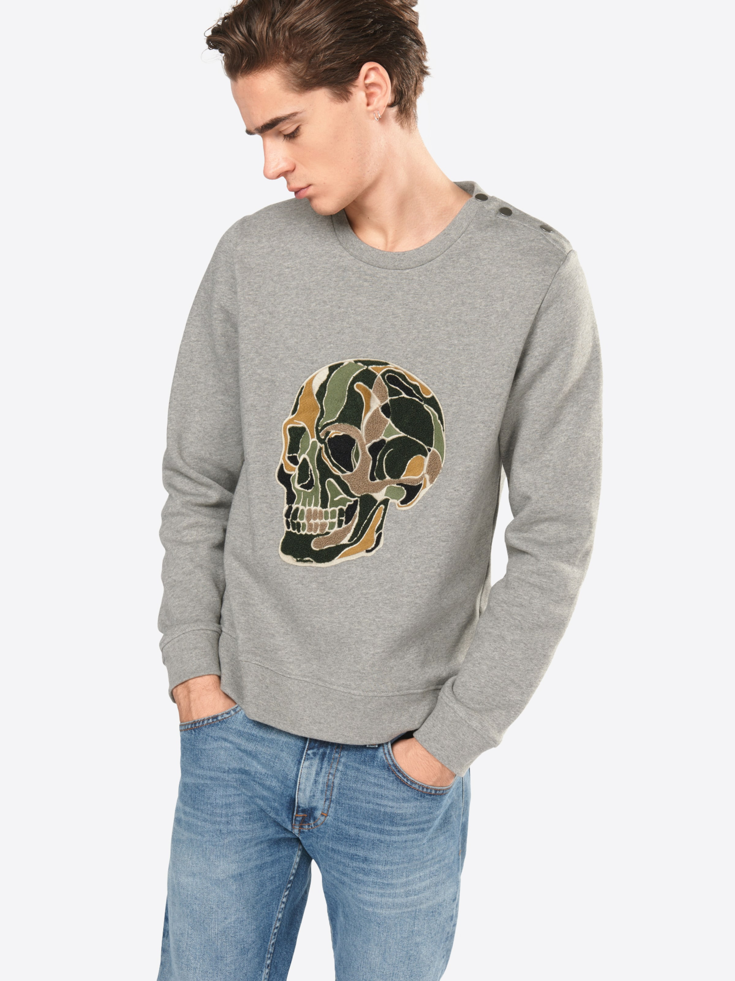 THE KOOPLES SPORT Sweatshirt 'Fleece & Skull Embroidery' mit Totenkopfstickerei Rabatt Neueste a0lzW1e