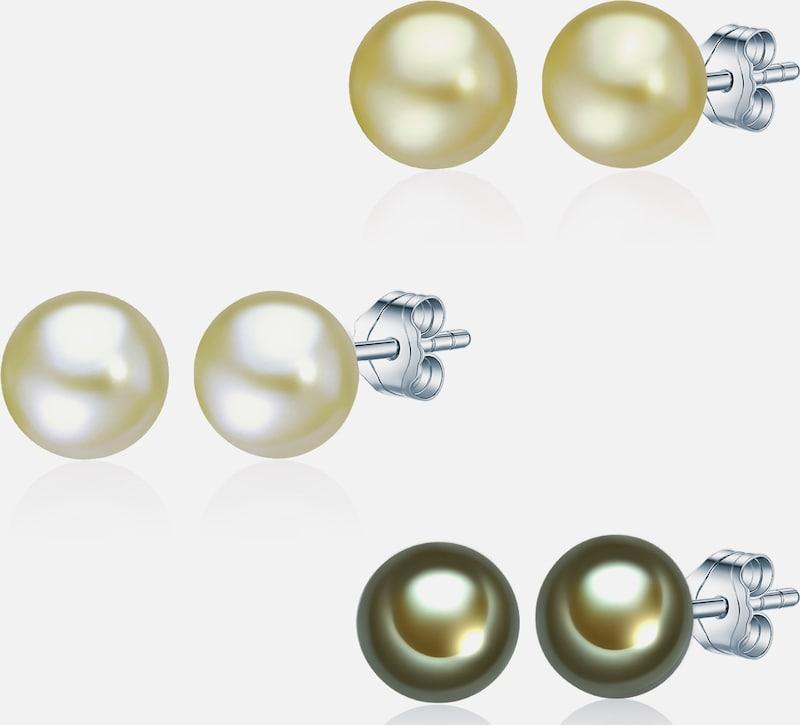 Valero Pearls Silber-Ohrstecker mit Süßwasser-Zuchtperlen (3er Set)