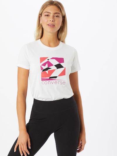 CONVERSE Tričko 'Torn Classic' - pink / červená / černá / bílá: Pohled zepředu