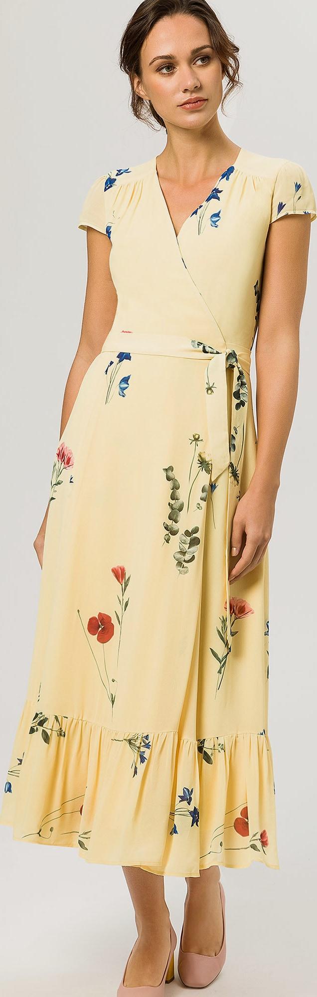 ivy oak kleider wrap dress cap sleeve volant gelb in gelb about you. Black Bedroom Furniture Sets. Home Design Ideas