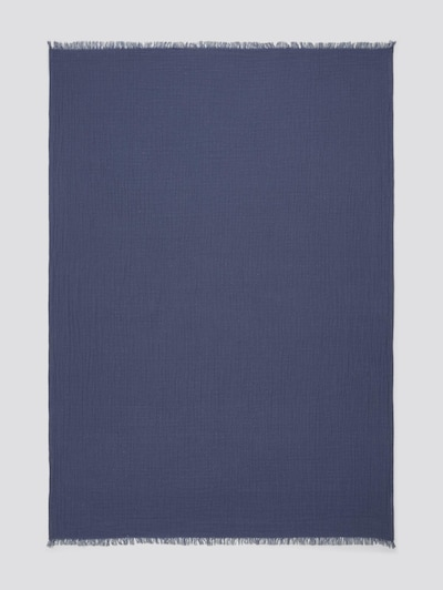 TOM TAILOR Home Wende-Decke mit gefranster Saumkante in blau, Produktansicht
