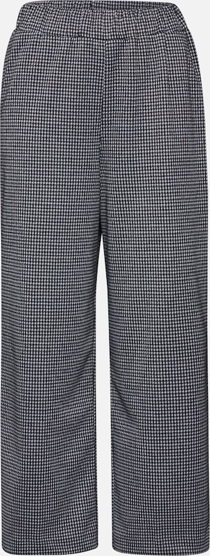TOM TAILOR DENIM Hose 'Houndstooth' in schwarz / weiß: Frontalansicht