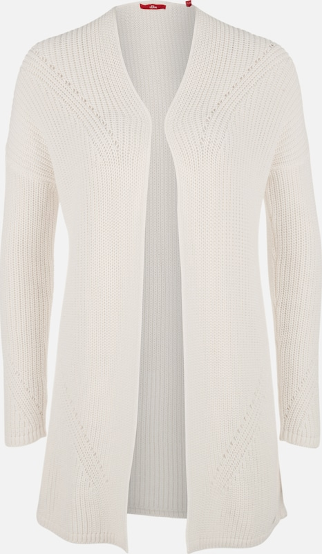 S.Oliver rot LABEL Lockere OverGrößed-Jacke aus Grobstrick in weiß  Neue Kleidung in dieser Saison