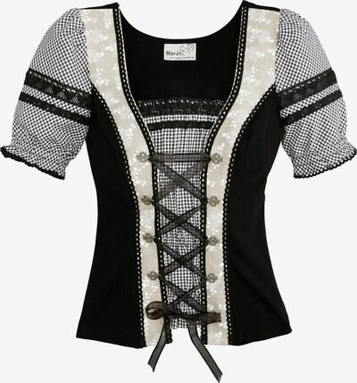 MARJO Trachtenshirt Damen mit Satinbandschnürung in beige / mischfarben / schwarz, Produktansicht