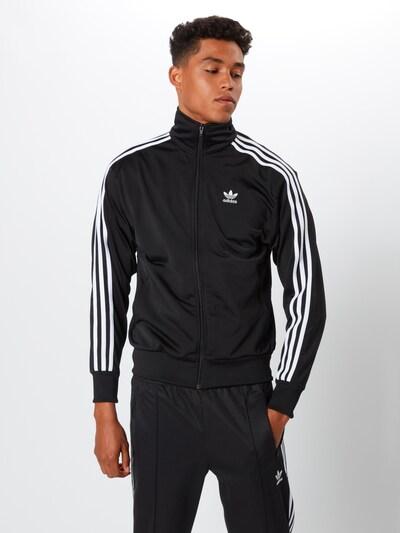 ADIDAS ORIGINALS Sweatvest 'Firebird' in de kleur Zwart / Wit: Vooraanzicht