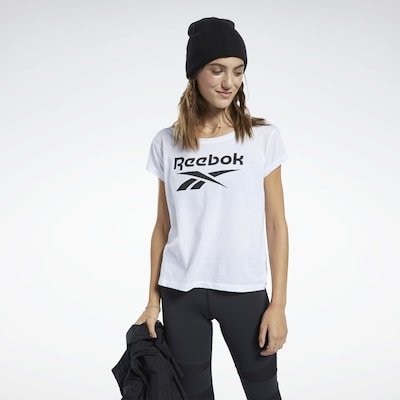 REEBOK Functioneel shirt in de kleur Zwart / Wit: Vooraanzicht