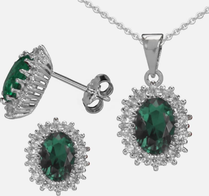 """FIRETTI Ohrstecker und Halskette """"Smaragd-Optik"""" (4tlg.)"""