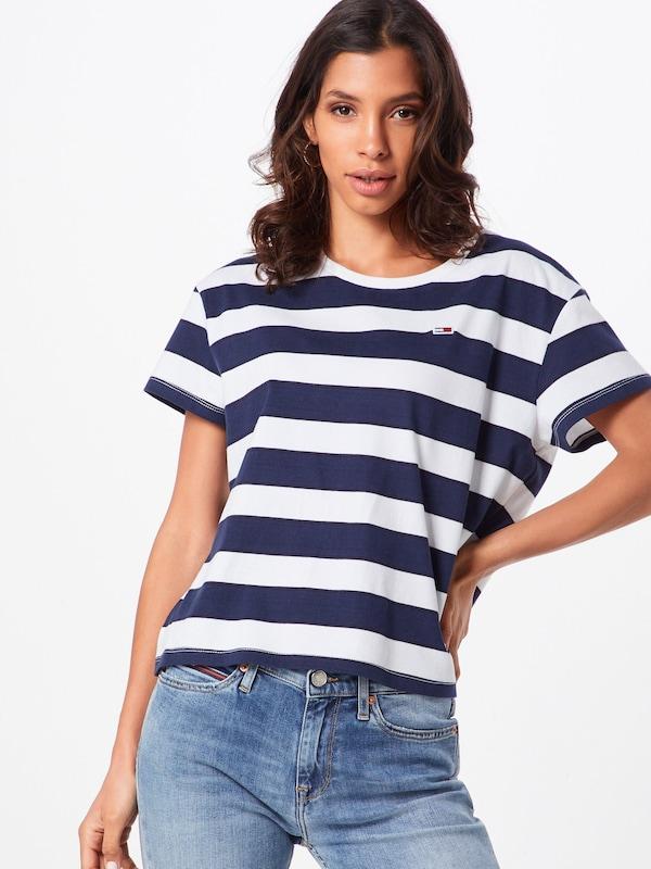 En Cropped Boxy 'tjw shirt Bleu Crew' Jeans T Stripe Tommy MarineBlanc DH92WIE