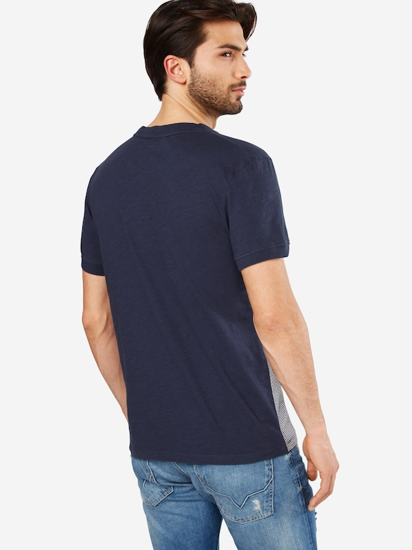 TOM TAILOR DENIM T-Shirt 'Tee with cutline and stripe'