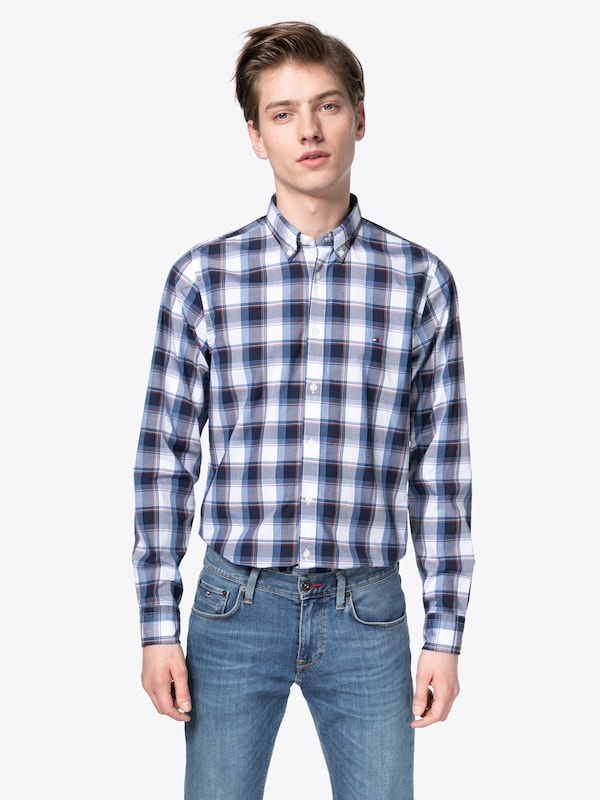 Check Rot Hemd Hilfiger Blau Poplin 'slim Shirt' Wei Tommy w7RIxq4BB