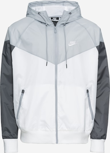 Nike Sportswear Jacke 'M NSW HE WR JKT HD' in grau / dunkelgrau / weiß, Produktansicht