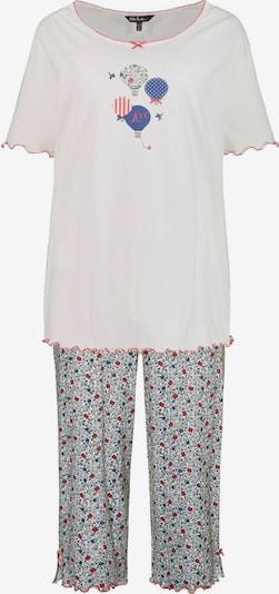 Ulla Popken Pyjama in blau / grau / pitaya / weiß, Produktansicht