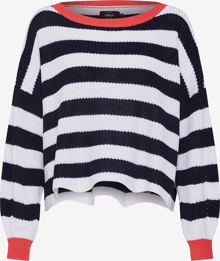 ONLY Trui 'onlHILDE L/S STRIPE PULLOVER CC KNT' in de kleur Nachtblauw / Rood / Wit, Productweergave