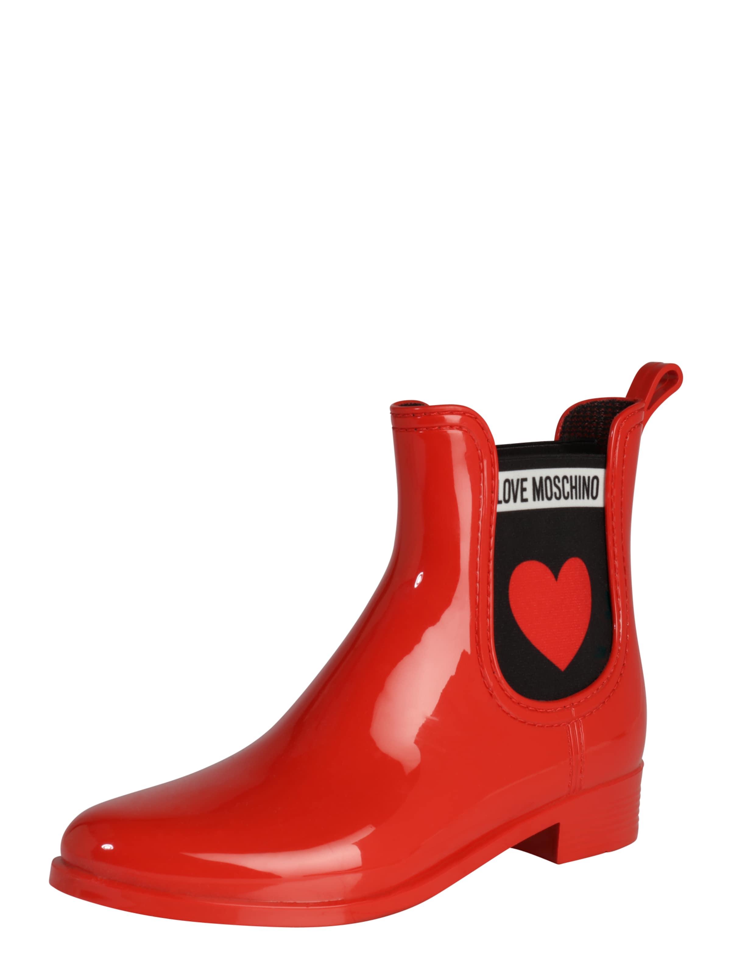 En Bottes 'rain Caoutchouc Love Moschino Rouge Plain' Y67fgvby