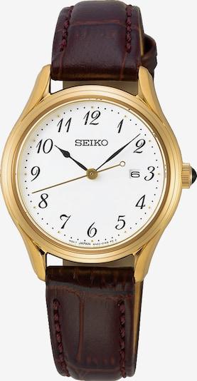 SEIKO Uhr in kastanienbraun / gold / weiß, Produktansicht