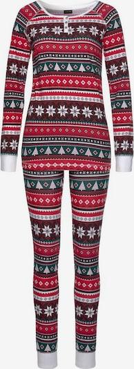 LASCANA Pyjama in dunkelgrün / rot / weiß, Produktansicht