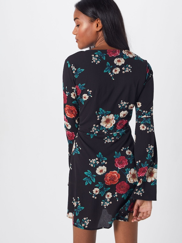 Robe 'button RougeNoir Sleeve Dress' Skater En Down Missguided Flare kiuXZP