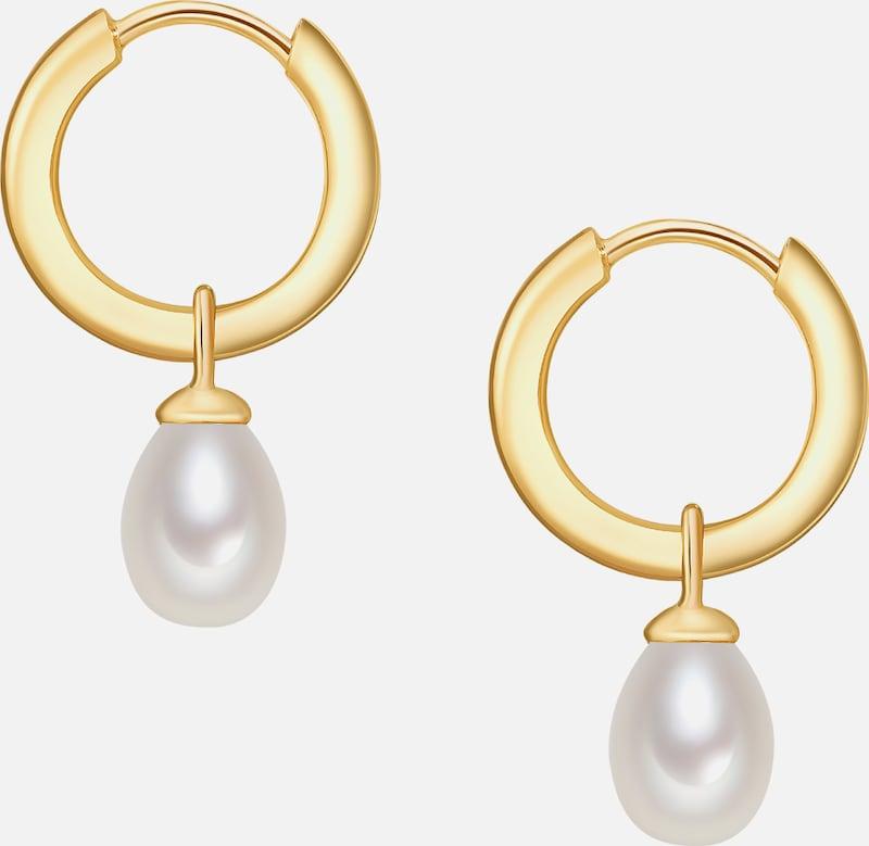 Valero Pearls Silber-Creolen mit Perlenanhänger
