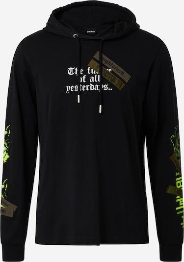 DIESEL Shirt 'T-JUST' in khaki / limette / schwarz / weiß, Produktansicht