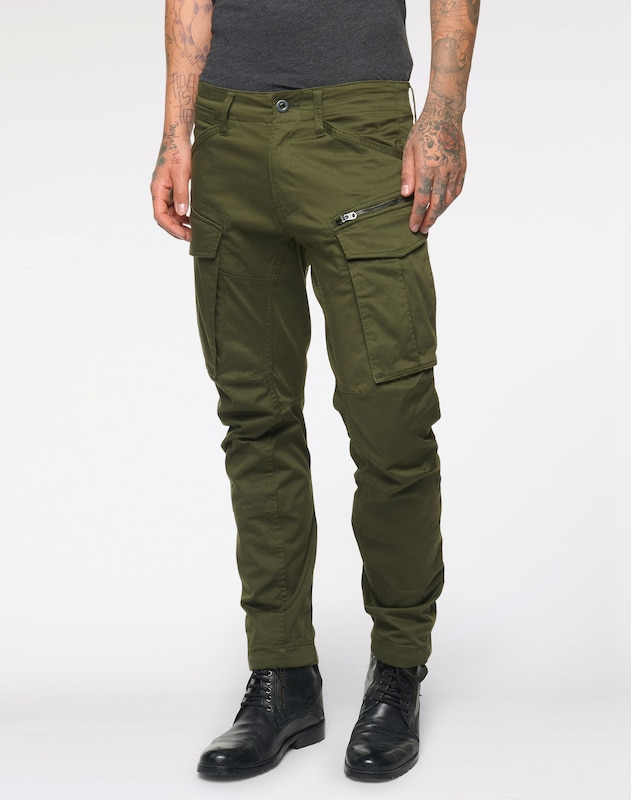 G-Star RAW Cargohose 'Rovic 3D Tapered' in dunkelgrün, Modelansicht