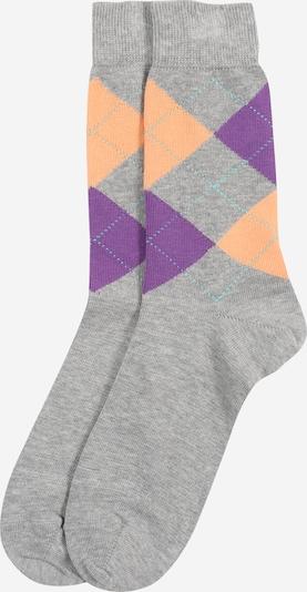 BURLINGTON Socke 'Queen Sock' in hellgrau / lila / orange: Frontalansicht