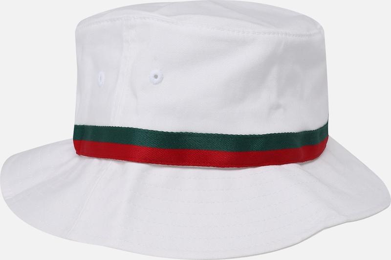 GroenRood Stripe Flexfit Bucket Hat Hoed In Wit JFK1cTl