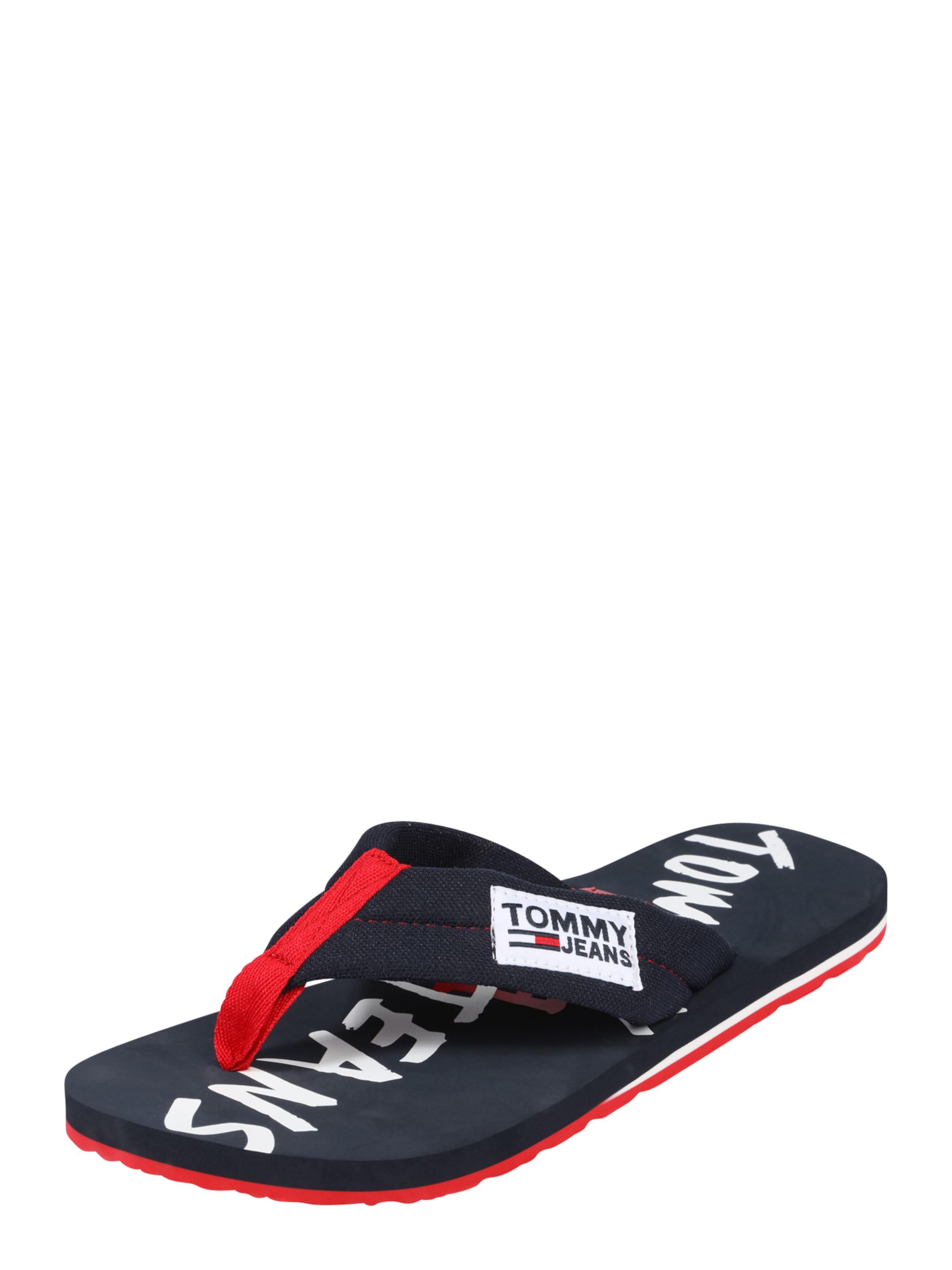 Tommy Jeans   Zehentrenner 'Beach' mit mit 'Beach' Logo Patch Schuhe Gut getragene Schuhe b532b5