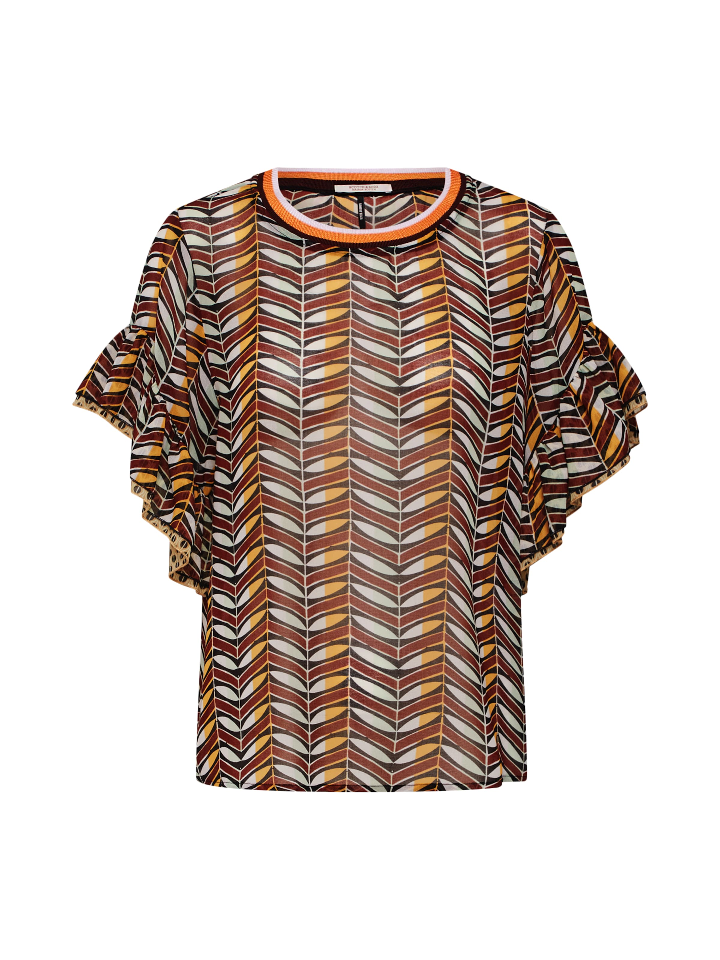 Ruffled Bluse 'mixed Soda BraunMischfarben In Scotchamp; Top Sleeve' With Print 0w8PXkOn