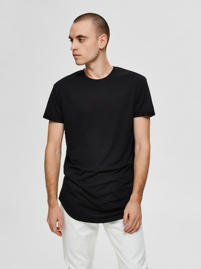 SELECTED HOMME Abgerundetes Maxi T-Shirt in schwarz: Frontalansicht