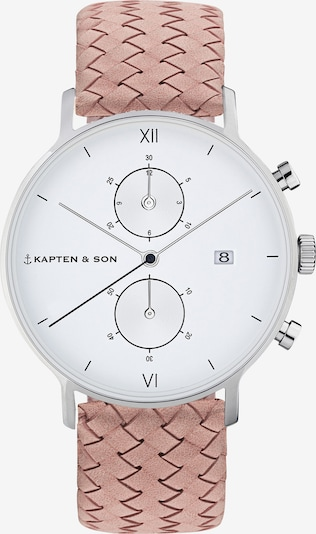 Kapten & Son Montre à affichage analogique 'Small Chrono Woven' en rose / argent, Vue avec produit