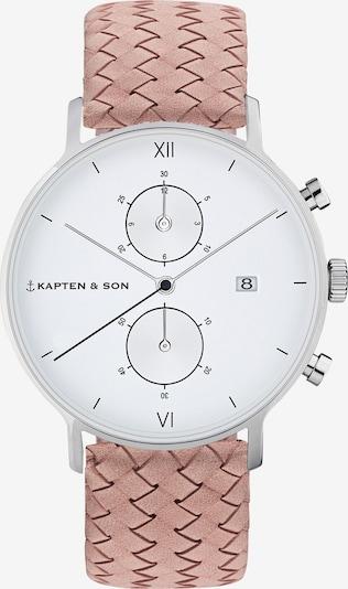 Ceas analogic 'Small Chrono Woven' Kapten & Son pe roz / argintiu, Vizualizare produs